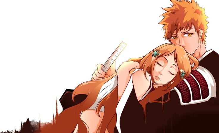 Orihime x Ichigo. Bleach  Credits to the artist