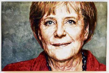 Bundeskanzler Kanzler Angela Merkel oil painting-TOP best Art oil painting-100% hand painted 22x36 inches-free shipping cost