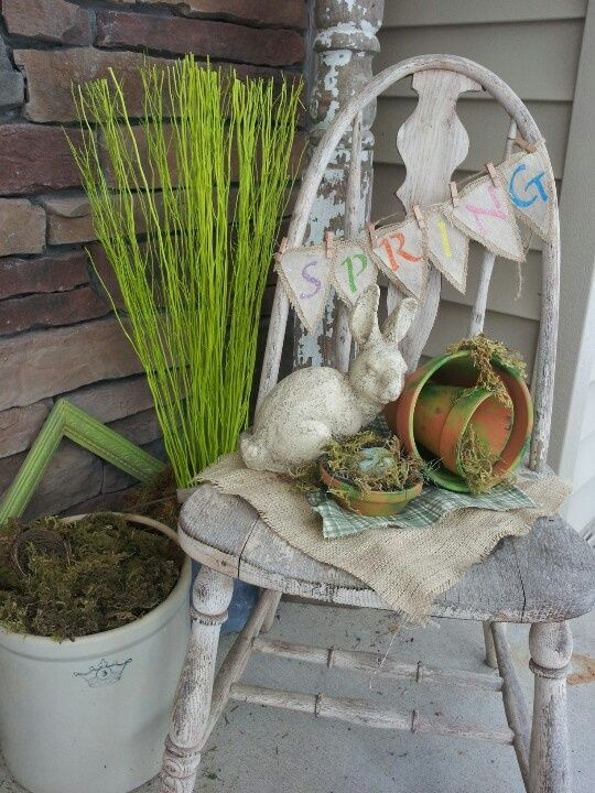 30 Lovely Easter Outdoor Decorations - Love the old chair. I have a couple of those downstairs. Why didn't I think of that?