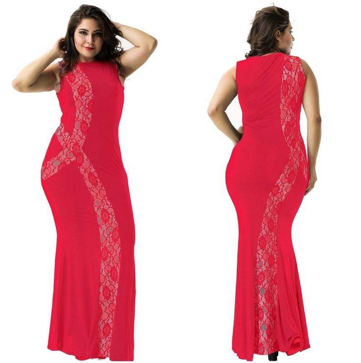 New Women's Plus Size Long Mermaid Maxi Scoop Neck Lace Red Formal Party Dress