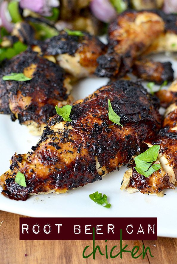 Gluten-free Root Beer Can Chicken is a whole chicken grilled on top of a can of root beer. Super crispy skin and juicy chicken is the perfect centerpiece at any summer grill out! | iowagirleats.com