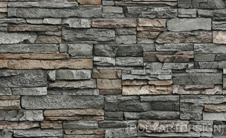 Slender Rough Cut Stone Formed Into Faux Panel With Overlapping And Interlocking Edges Creating