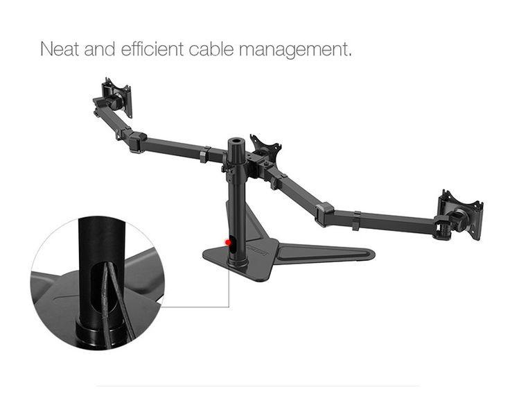 Loctek D2T Desktop Stand Triple Display Monitor Holder Full Motion Retractable Free Lifting TV Mount