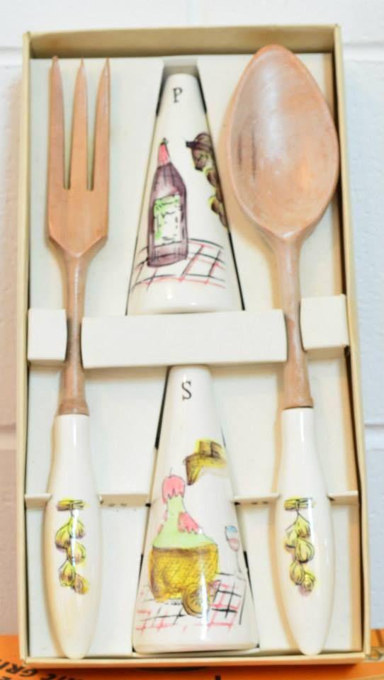 Hostess set - ceramic handles on wood.