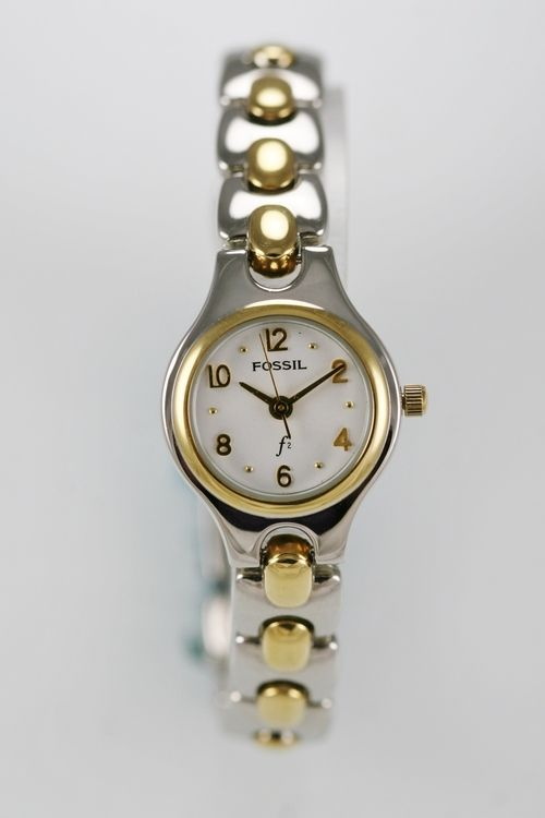 Fossil F2 Watch Womens Stainless Steel Gold Silver Water Resist 30m White Quartz