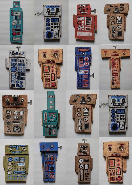 robots! maybe use scrap cardboard...