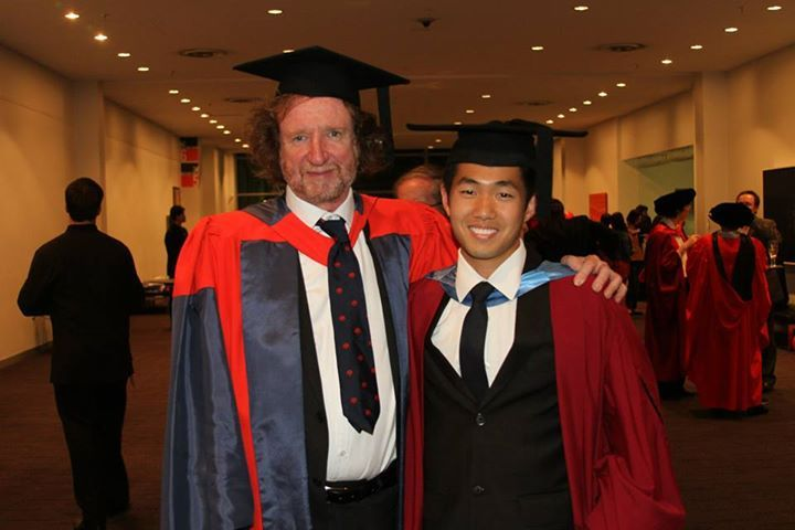 Here is a photo from one of our proud Singaporean students, Theodore Teow, who recently had his undergraduate graduation but is now commencing his PhD under the guide of Mike Anderson from the school of Psychology and Exercise Science.
