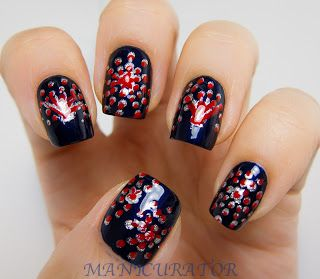 Best 25 firework nails ideas on pinterest firework nail art red and blue firework nails by manicurator fireworks nails nailart prinsesfo Image collections