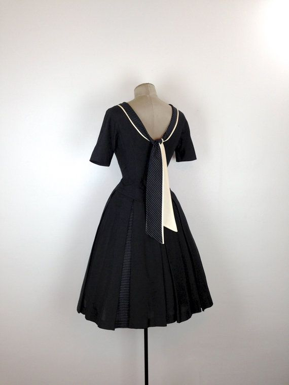 50s Fit and Flare Sailor Inspired Party Dress by MotherOfVintage