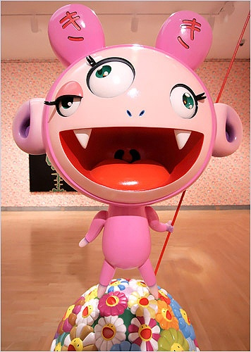Takashi Murakami - Murakami's work is influenced by manga and anime, taking the form of painting and sculpture as well as fashion, merchandise and animation.