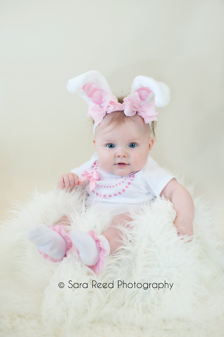 Pink and White Easter Light Pink Bow Bunny Ears Stretch Headband GREAT PHOTOGRAPHY PROP. $11.00, via Etsy.
