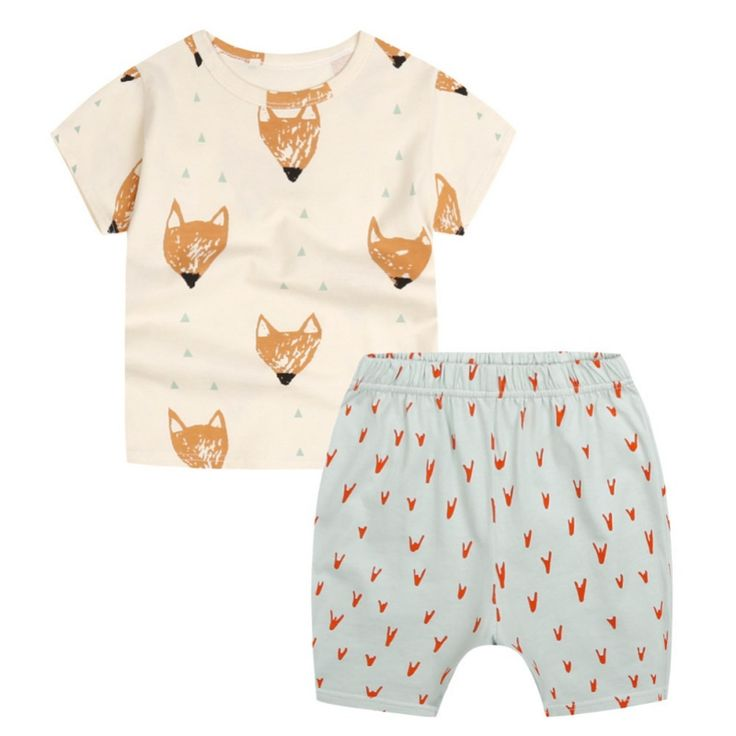Kids Boys 2PCS Cotton Tshirts + Shorts Fox Print Clothes Summer Brand Sport Suits Toddler Baby Clothing Sets fun #Affiliate