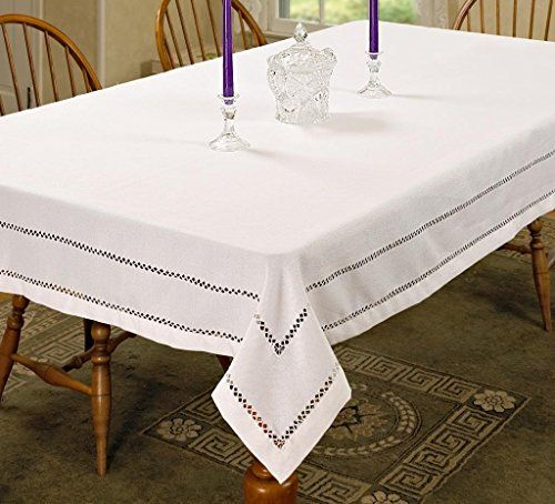 Superbe Hem Stitch Embroidered Vintage Design Tablecloth White 68 By 108 Oblong  Rectangle *** Check