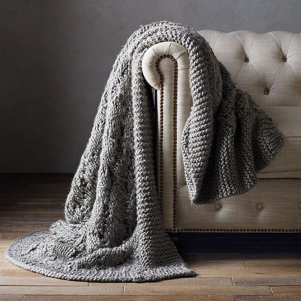 Lattice Chunky Throw (£225) ❤ liked on Polyvore featuring home, bed & bath, bedding, blankets, woven throw blanket, chunky knit throw blanket, acrylic throw, chunky knit blanket and chunky throw
