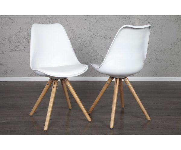 Krzesło Białe Scania Tworzywo Sztuczne, Skóra Ekologiczna, Drewno - 399zl