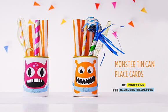 Printable Monster Tin Can Place Cards