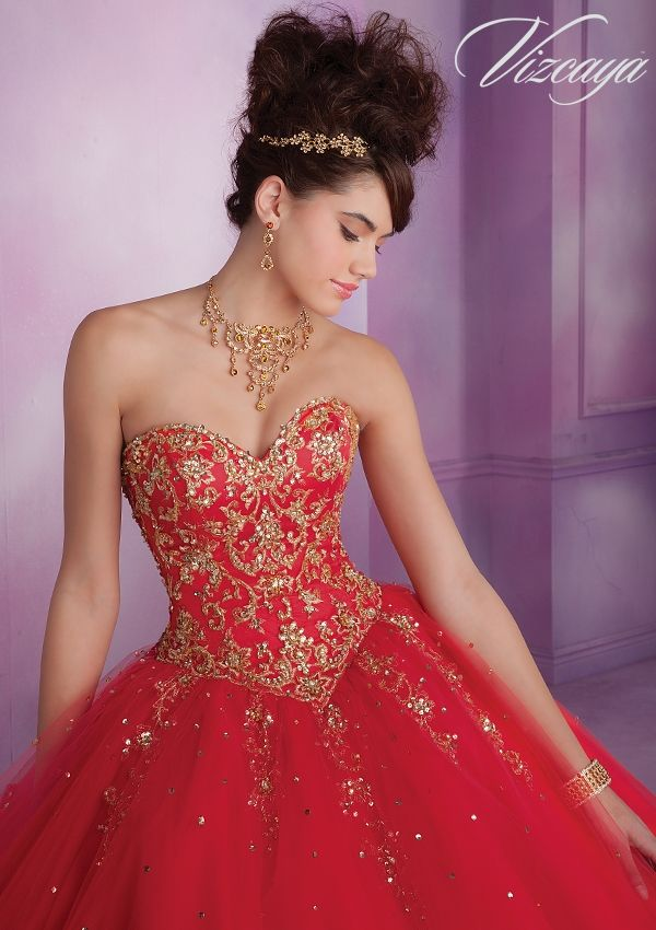 Quinceanera Dress From Vizcaya By Mori Lee Dress Style 89015 Embroidered Tulle Quinceanera Gown with Beading