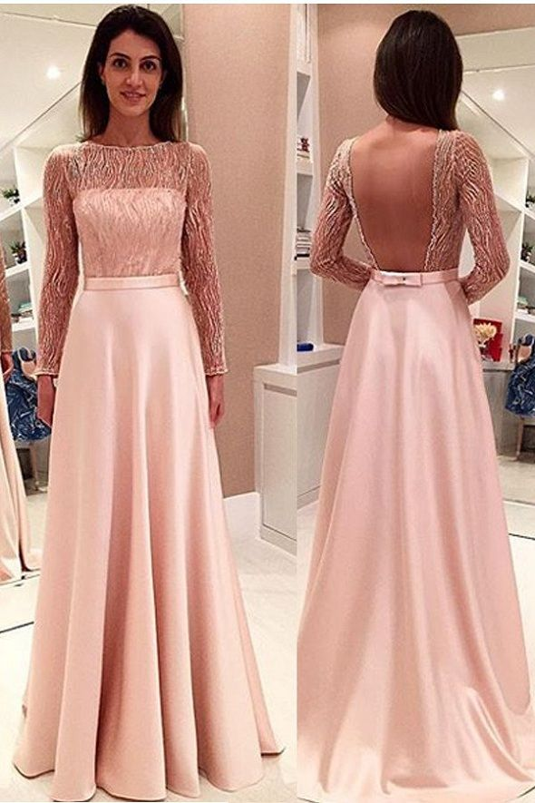 Charming Prom Dress,Long Sleeve Prom Dress,Backless Evening Dress,Formal