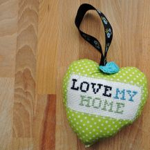 'Love my home' patterned cross stitch hanging heart - DolceDecor home decoration