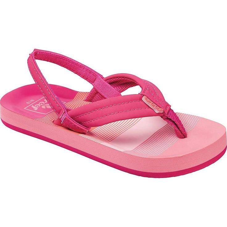 Reef Girls' Little Ahi Sandal - 5/6 - Pink / Stripes
