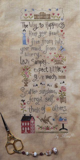 Jardin Privé - La Pensée Positive SAL stitched by Nina with Nina's Threads