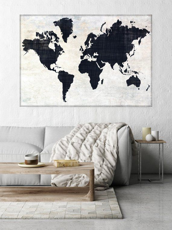 Huge World Map Executive Gift Rustic Map Industrial Art Etsy World Map Wall Art Map Wall Art World Map Wall