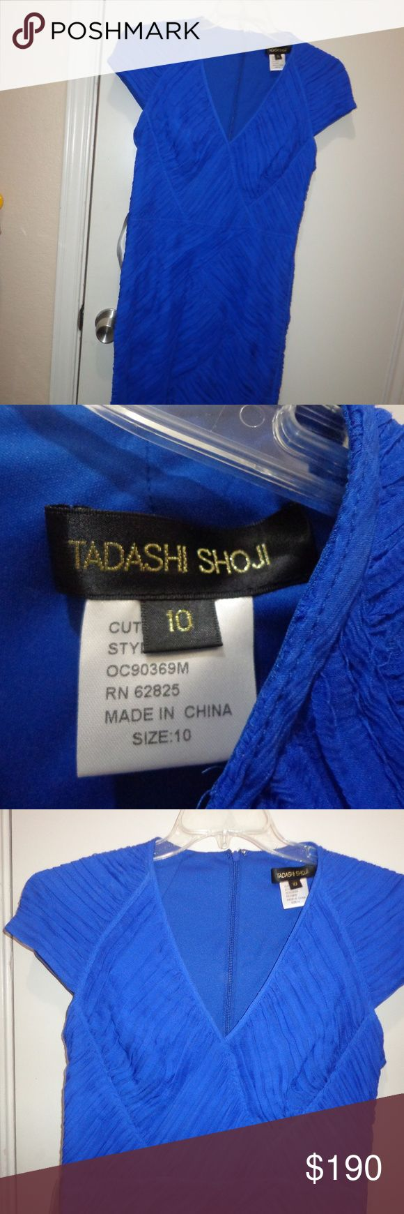 NWT - Tadashi Shoji Silk Dress Size 10 new with tags. Has the do not remove tag from saks. Not actual price tag. Never worn  silk and lined poly   royal blue, lined,  armpit to armpit 19  length 40  11/27--- Tadashi Shoji Dresses