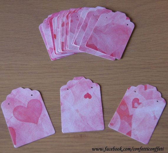 24 x Jewellery Tags Cards  Pink Shaded Hearts by ConfettiConffeti, $3.20