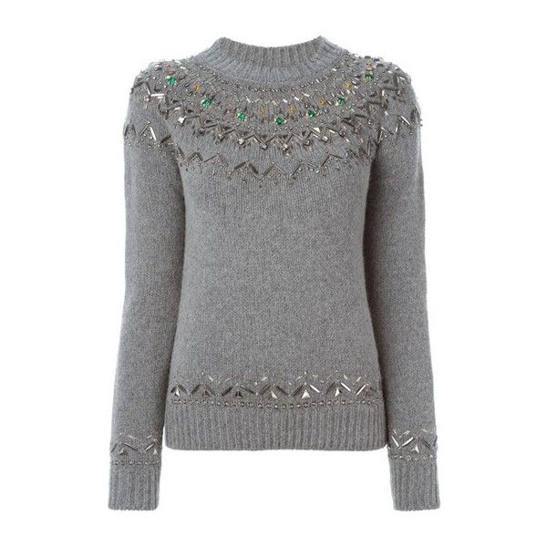 GUCCI Crystal Embroidery Sweater (2 865 AUD) ❤ liked on Polyvore featuring tops, sweaters, grey, long sleeve tops, grey long sleeve top, embroidered top, grey sweater et embroidery tops