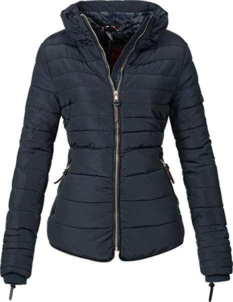 0bec3452d878c6 Marikoo Damen Winter Jacke Steppjacke Amber (vegan hergestellt) Blau Gr. XS  - Winter