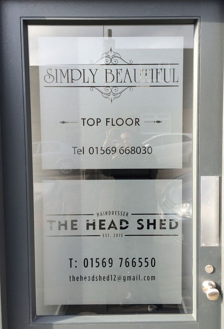 Etched effect vinyl applied to main entrance door of Simply Beautiful beauty salon and The Head Shed unisex hair salon in Stonehaven