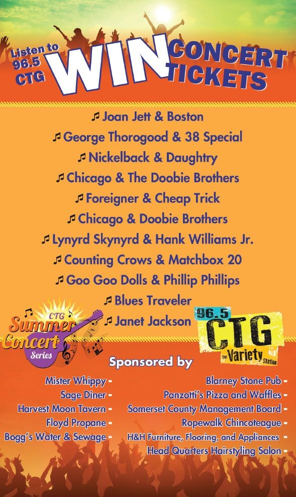 CTG, hits from the 70's 80's 90's to now. Sing along with the classics and your new favorites with 96.5. While you're listening, enter to win FREE concert tickets at any of the sponsor locations listed.Drawing every Friday, Listen to win! www.frugals.biz Listen Live at www.ctgvariety.com