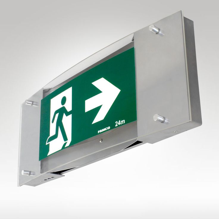 FAMCO F9961 LED Premium LED Exit. This Exit can be Wall mounted, Ceiling Mounted - Single or Double Sided,  or Bracket mounted from the Wall or Ceiling. Versatile and stylish, the Premium Exit is the solution to Exit Signage for modern interiors.