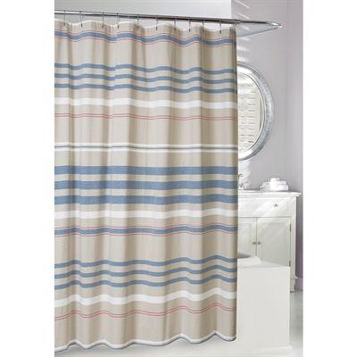 Moda at Home Restoration Cotton Striped Blue/Tan Striped Shower Curtain