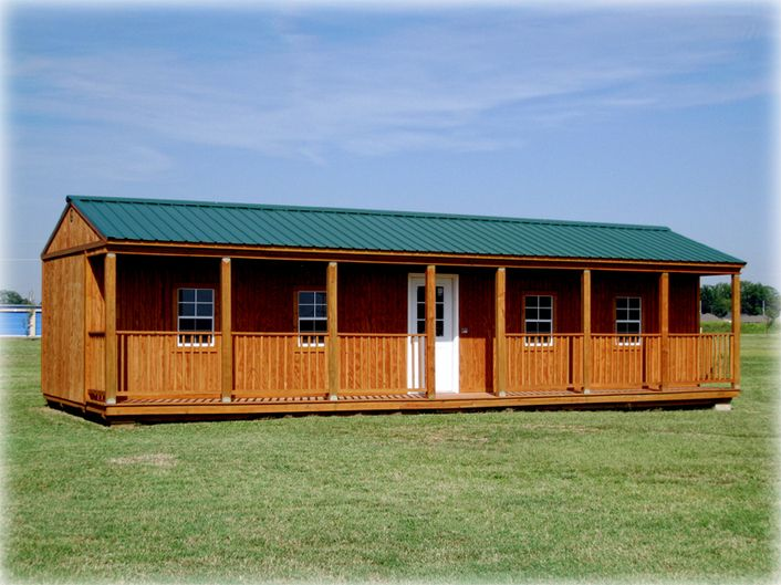 Side porch cabin two sizes available 16 x 24 and 16 x 40 for Side porch