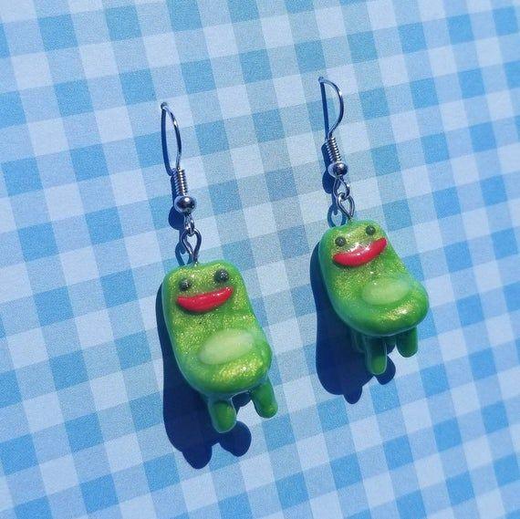 Froggy Chair Animal Crossing Dangly Earrings Etsy In 2020 Dangly Dangly Earrings Etsy Earrings