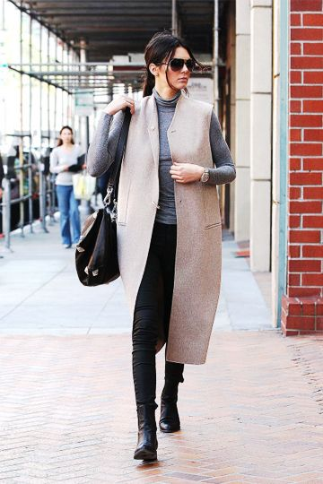 Sleeveless Jacket and Grey Polo Neck Top, Black Skinnies and Ankle Boots #sleevelessjacket #sleevelesscoat #sleevelessvest #greycoat #greysleevelesscoat #greypoloneck #greyrollneck #greyfunnelneck #greyhgihneck #leatherboots #leatherankleboots