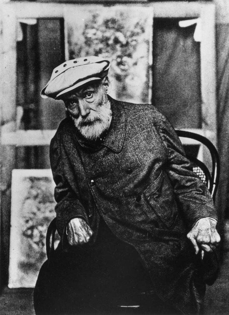Pierre-Auguste Renoir towards the end of his life, when his hands were completely ruined by arthritis (which didn't stop him from painting and smoking like a chimney, as this old film shows…)