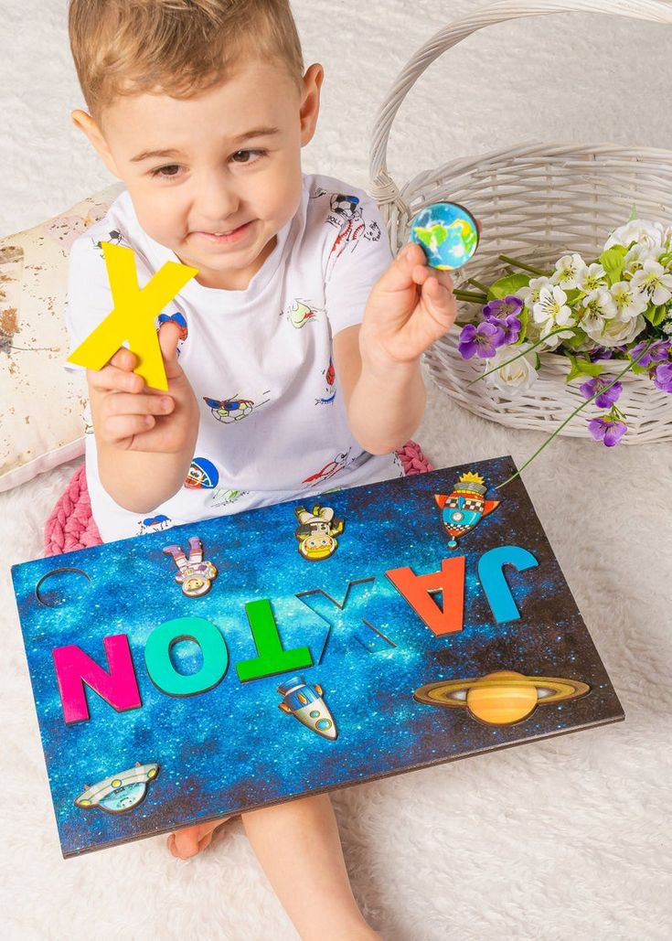 Wood busy board baby 1st birthday gifts Name puzzle for ...