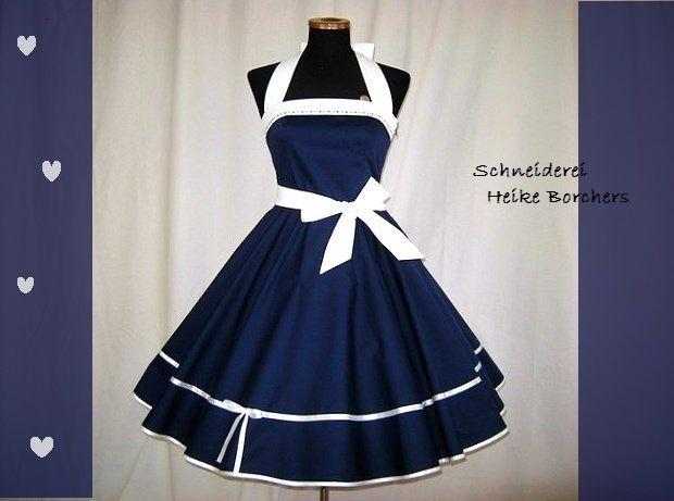 Petticoatkleider - 50er Jahre Kleid  Petticoatkleid  Gilda Blau Weiß - ein Designerstück von Schneiderei-Heike-Borchers bei DaWanda