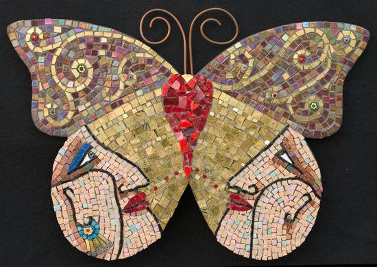 """Lovers 18"""" x 12"""" gold, smalti, irridescent glass, millefiori, wire 2005"""