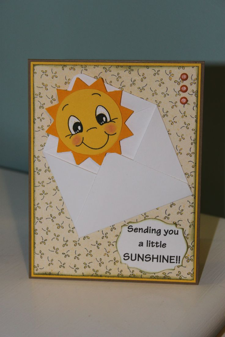 Inspired by another pinner.  Sun is from Create a Critter and Peachy Keen stamps