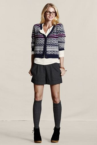 Lands' End Canvas Holiday Look - Angora Fair Isle Cardigan