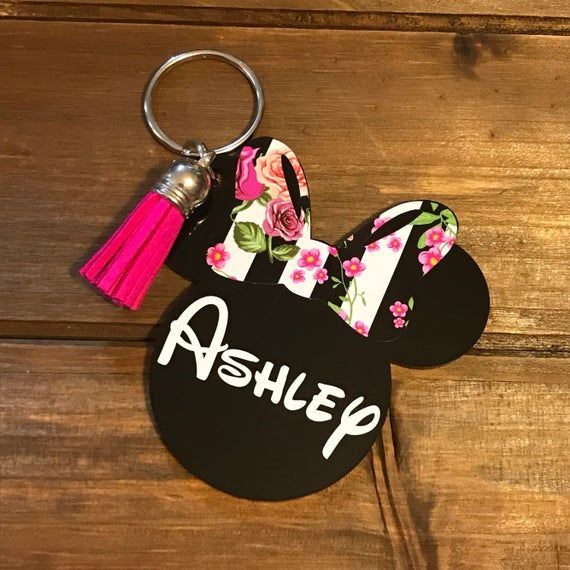 Handmade Personalised Initial Letter Minnie Mouse Inspired Keyring Bag Charm