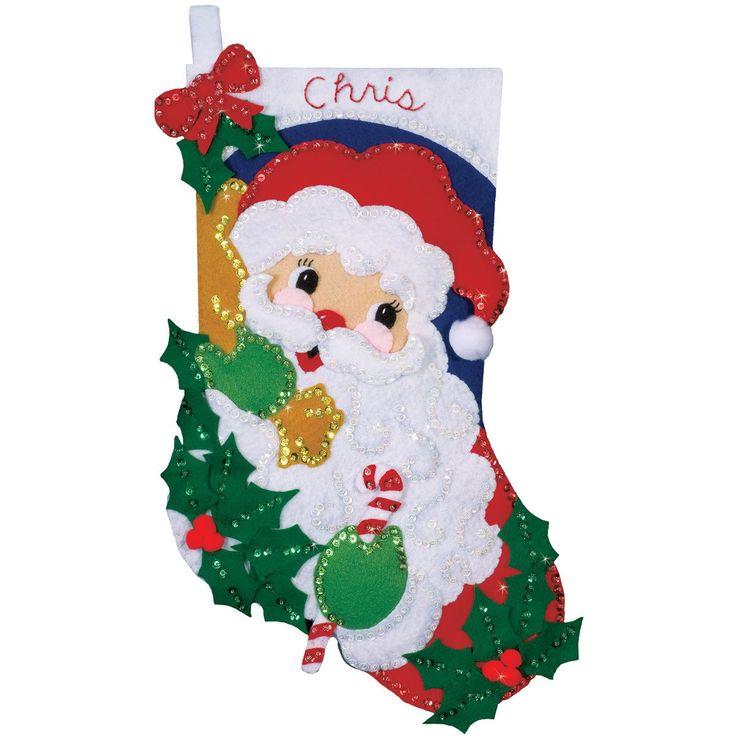 Design Works Felt Applique Kit Holly Santa Stocking
