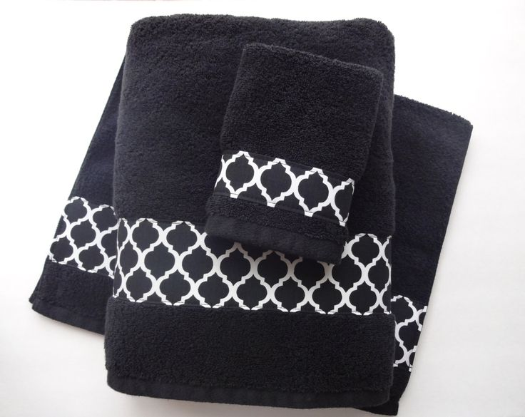 You Pick Size Bath Towels, hand towels, bath towels sets, custom towels, black, black lattice, black bathroom, black towel, quatrefoil towel by AugustAve on Etsy https://www.etsy.com/uk/listing/189413821/you-pick-size-bath-towels-hand-towels