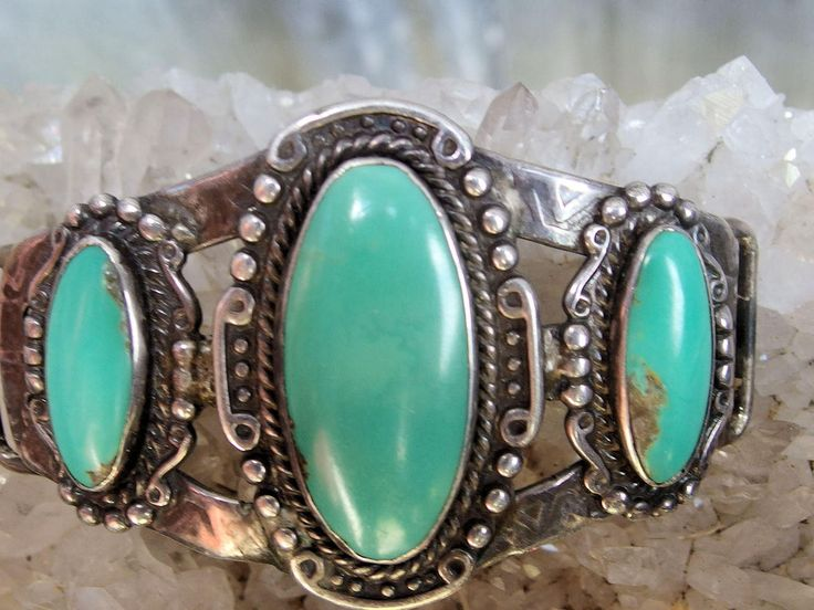 3 Stone Turquoise and Silver Ornament for Hat or Bracelet, Substantial Silver Piece, Well Matched Beautiful Cabochons, Curved Top, Unsigned by postGingerbread on Etsy