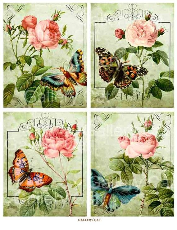 Old English Roses with Butterfly Digital Collage Sheet Instant Download for Paper Crafts Original Whimsical Altered Art by GalleryCat CS8. $ 3.70
