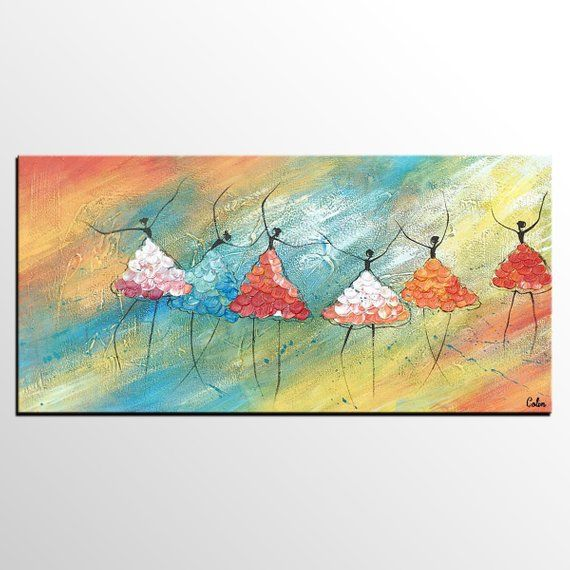 Canvas Artwork Ballet Dancer Painting Impasto Art Acry Oil