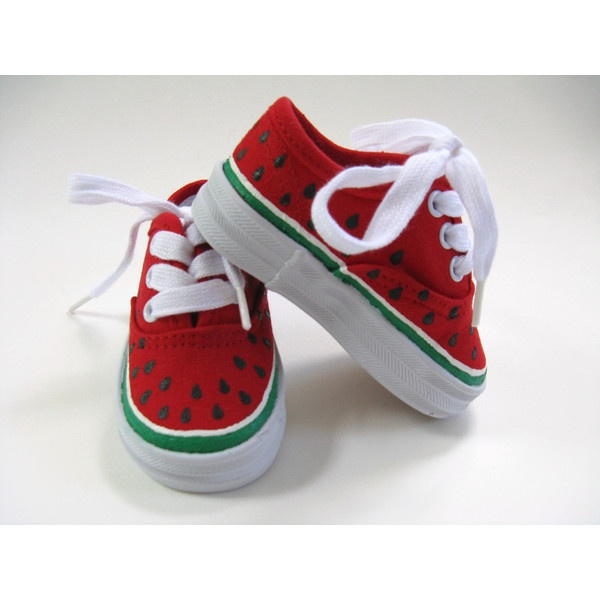 watermelon shoes painted toddler or baby canvas